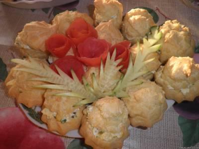 эклеры с салатом, закуски